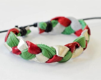 On Sale - Gold Green and Red braided Leather Bracelet