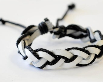 White Leather with black hemp cord briaded leather Bracelet