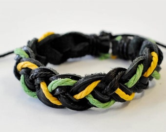 On Sale- Black Green Orange hemp cord braided leather cord