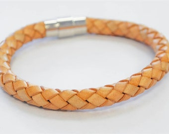 Large Light Brown braided leather cord with silver magnetic buckle bracelet