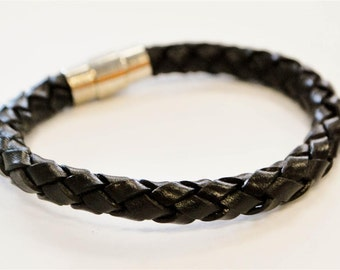 Brown braided leather cord with silver magnetic buckle bracelet