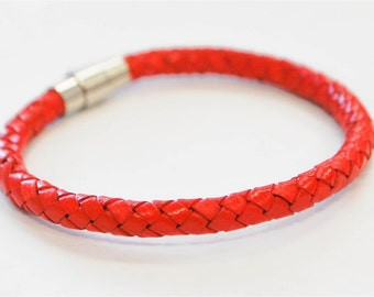 Red braided leather cord with silver magnetic buckle bracelet