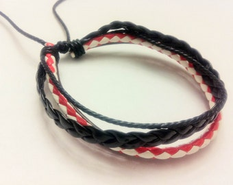 On Sale - Red braided cord with Black and Brown leather bracelet