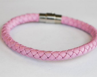 Lavender braided leather cord with silver magnetic buckle bracelet