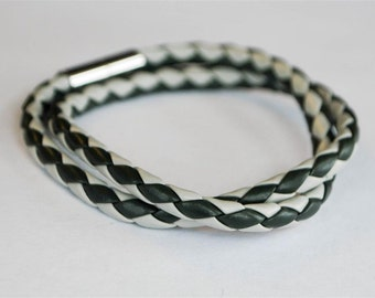 On Sale - Greyish braided cord Doublewrapped Magnetic leather bracelet