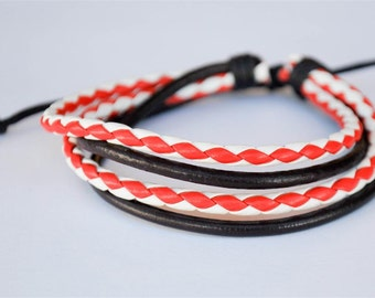 Red and White leather cord with Brown leather cord bracelet
