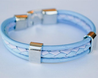 Baby Blue and Purple braided leather cord with Silver Clip on buckle bracelet