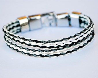 Multi Black and White braided leather cord with Silver Clip on buckle bracelet