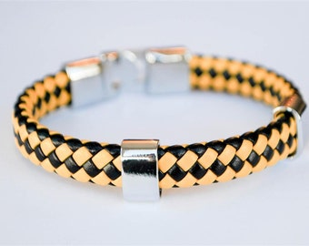 Bee braided leather cord with Silver Clip on buckle bracelet