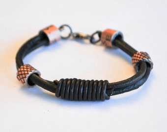 Brown leather rope with copper color metal Lobster Clasp bracelet