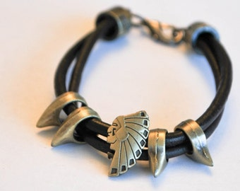Brown leather with gold metal native american Lobster Clasp bracelet