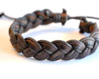 Brown braided hemp cord with Brown Leather Bracelet