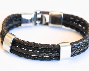 Multi Brown and Black braided leather cord with Silver Clip on buckle bracelet