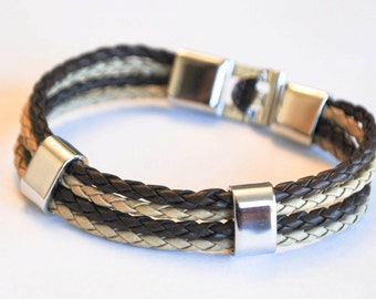 Multi Brown and Beige braided leather cord with Silver Clip on buckle bracelet