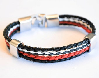 Multi Black Red and White leather cord with Silver Clip on buckle bracelet