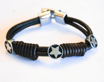 Double Brown leather ropes with Stars charms Silver Clip on buckle bracelet