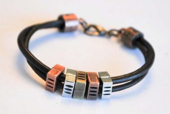 Brown leather with 3 colors metal cubes Lobster Clasp bracelet