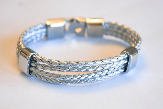 Multi Silver braided leather cord with Silver Clip on buckle bracelet