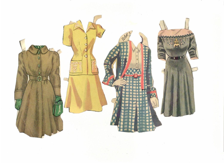 fashion week vintage paper doll clothing by landinginparis