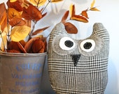 Stuffed Sweater Owl for Ethiopian Adoption - Black and White