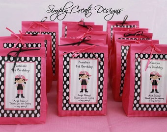 SALE Pirate Favor Tag Pink Girl DIGITAL FILE 4x6 Jpeg Digital File Personalized