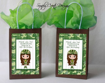 Army Girl Party Favor Tag Camo DIGITAL FILE 4x6 Jpeg Digital File Personalized