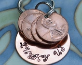 LUCKY US hand stamped key chain with pennies
