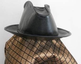 CUSTOM LEATHER STETSON-FEDORA STYLE BRIM HAT - HIGHBOY STYLE