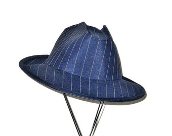 Custom Wool Blue Pin Stripe Stetson-Fedora  Hat