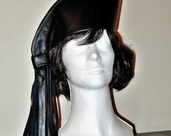Black Cowhide Leather Side Tassel Hat