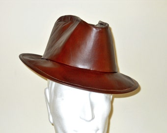 Custom Cowhide Leather Stetson-Fedora Hat - CONSERVATIVE STYLE