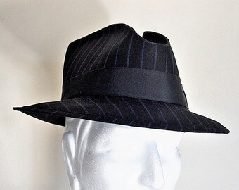 Custom Wool Black Pin Stripe Stetson Fedora Hat