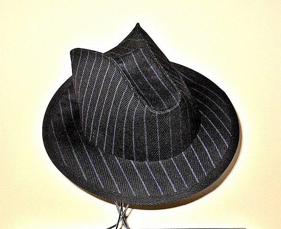 Custom Wool Black Pin Stripe Stetson-Fedora  Hat