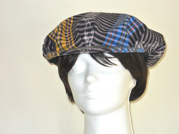 MultI-Colored Woven Pleated Newsboy Cap With Bibb