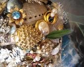 SALE  MERMAID Beach Ocean Wedding Bridal Brooch Bouquet - Abalone,  Mother Of Pearl, Real Pearls - Sea Glass - Vintage - by RoBun