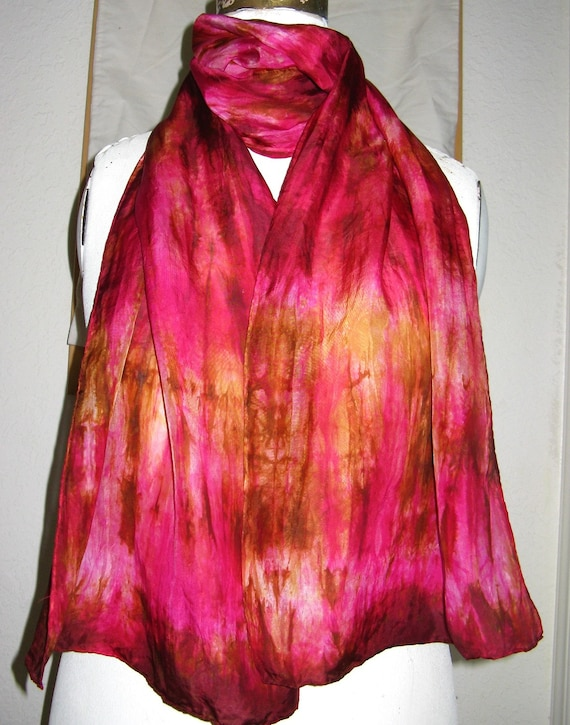 hot pink  and gold   ...   hand dyed silk scarf