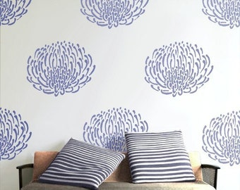 Flower Stencil for walls, Reusable - PIN CUSHION PROTEA Flower- Easy Home Decor/Wall Art