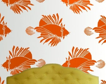 Fish Wall Stencil - LION FISH Large Fish Stencil - Reusable - DIY Home Decor- wall Art