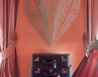 Leaf Stencil for Walls - OLIVE Leaf - Leaf imprint with veins - Reusable - DIY Home Decor/Wall Art