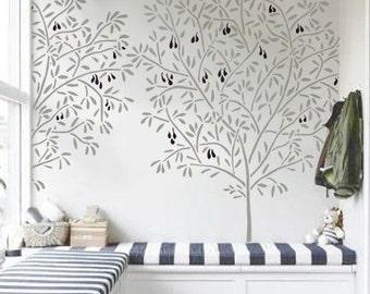 Popular items for albero on etsy - Stencil parete albero ...