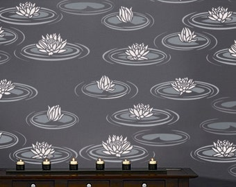 STENCIL for Walls - Water LILIES - Reusable Lily Pad Flower Stencil - Easy DIY Home Decor