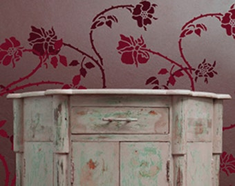 Stencil for Walls - Wild ROSE Vine - Wall STENCIL - Reusable, Durable DIY Home Decor