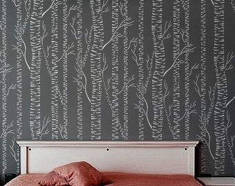 Birch STENCIL for Walls - Silver Birches - Allover birch forest tree stencil DIY wall decor for home