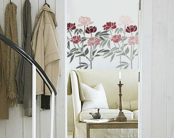 Wall STENCIL - Peony Flowers - Reusable- DIY Home Decor / Wall Stencil