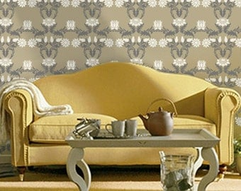 William Morris Stencil for Walls - Damask SUNFLOWERS - Wall STENCIL, DIY William Morris Wallpaper Alternative