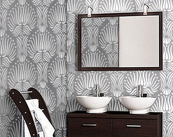 Repeating Pattern STENCIL for Walls - Art DECO Flora Pattern - Reusable DIY Home Decor