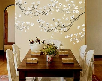 STENCIL for Walls - Flowering DOGWOOD Branch - Large, REUSABLE Flower Wall Stencil