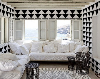 Stencil for Walls - Mod Triangle PATTERN - Allover Wall STENCIL - DIY Modern Home Decor
