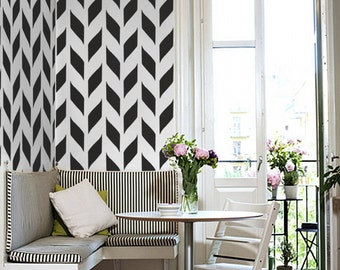 STENCIL for Walls - Woven Pattern - Allover chevron Wall Stencil - Durable, Reusable, Modern DIY Decor