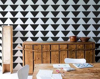 Allover Wall Stencil - Mod Triangle PATTERN - Allover Pattern STENCIL - DIY Home/Wall Decor